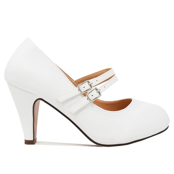 Chase + Chloe Shoes - Women's White PU Double Mary Jane Retro Pump